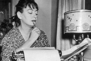 Dorothy Parker proofreading a draft