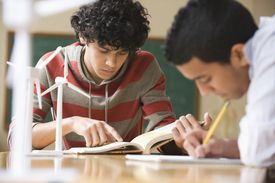 Two students reading