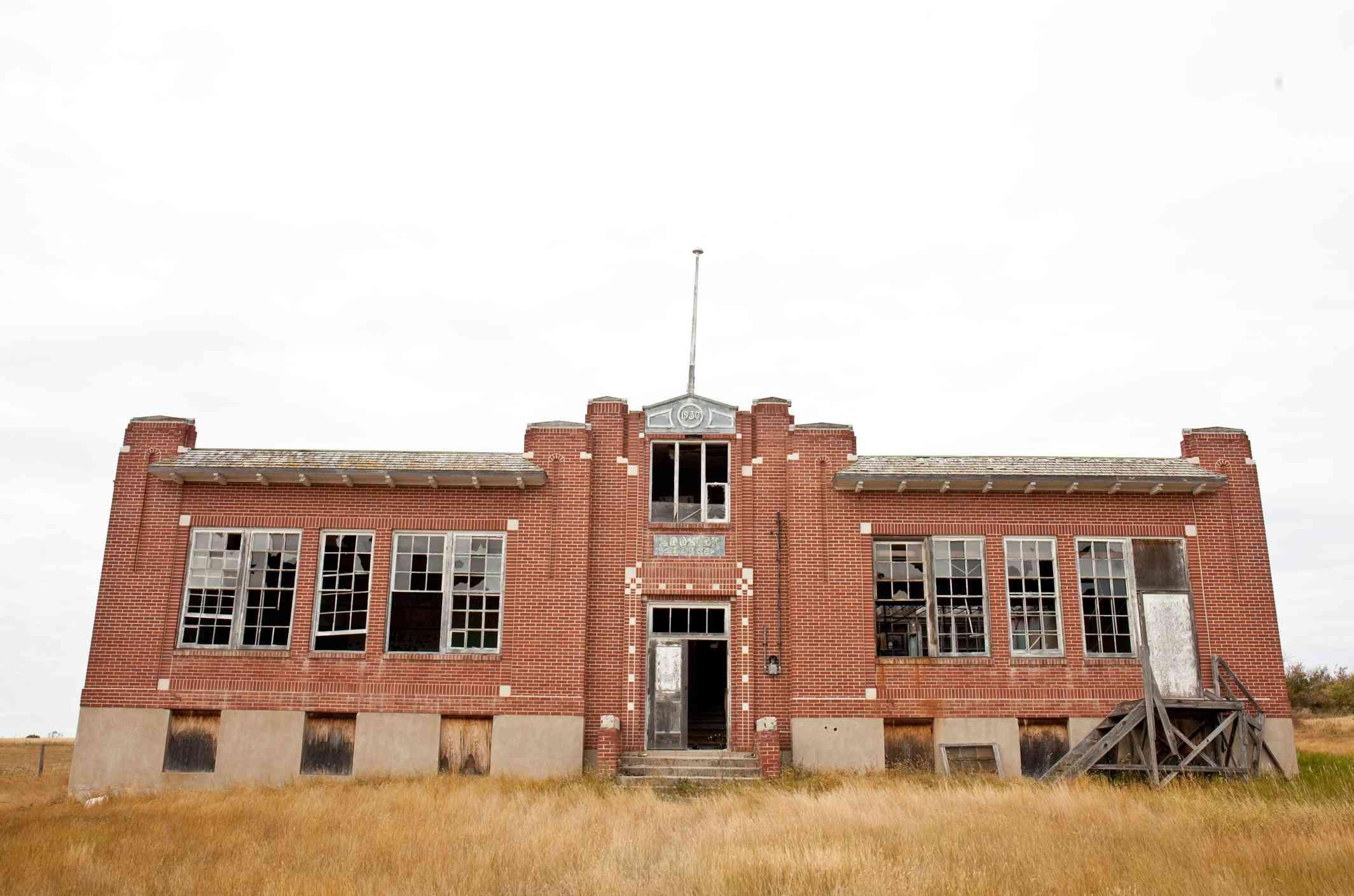 An old abandoned residential school in rural Saskatchewan, Canada.