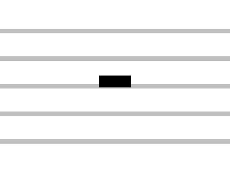 The half rest (or minim rest) denotes a silence for half the duration of a whole note, or twice the duration of a quarter note.