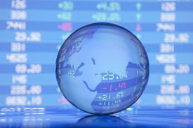 Europe Asia globe and financial figures