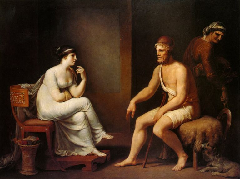 "Painting depicting Odysseus and Penelope from ""The Odyssey"""
