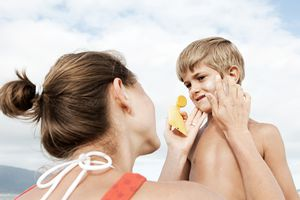 Mother and Son with Sunscreen
