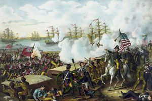 Vintage War of 1812 print of General Andrew Jackson leading his troops at the Battle of New Orleans.