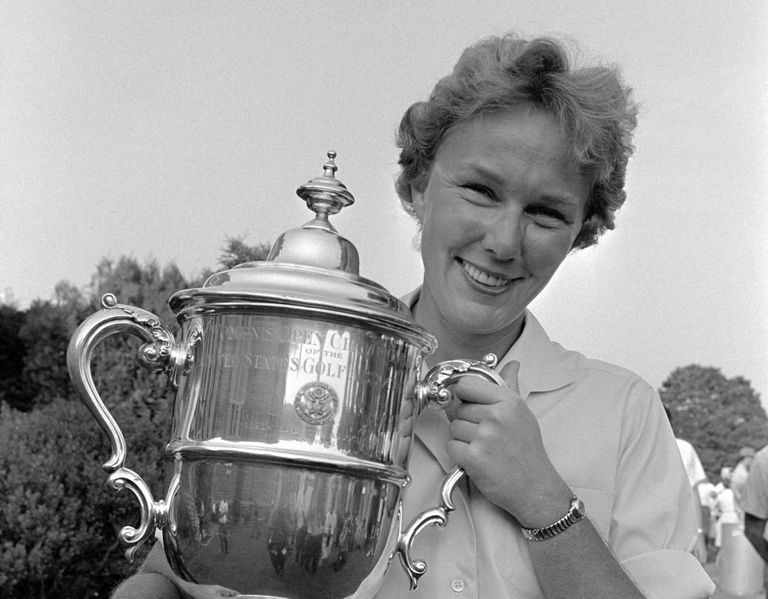 Mickey Wright holds trophy after winning 1961 US Women's Open Golf Championship