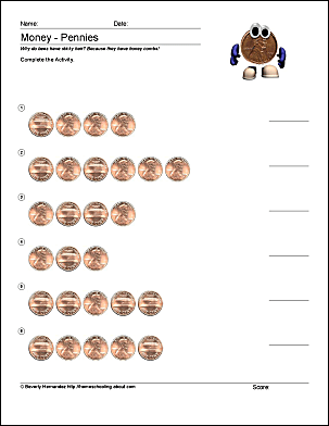 Kindergarten Penny Worksheets