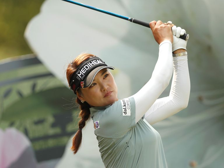 So Yeon Ryu plays her shot during the second round of the 2018 Swinging Skirts LPGA Taiwan Championship.
