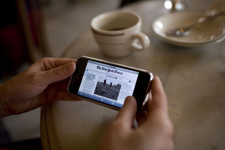 The New York Times on a mobile phone
