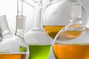 liquids in glass beakers