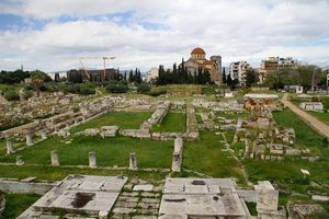 Areal view of Kerameikos Cemetery on a cloudy day.