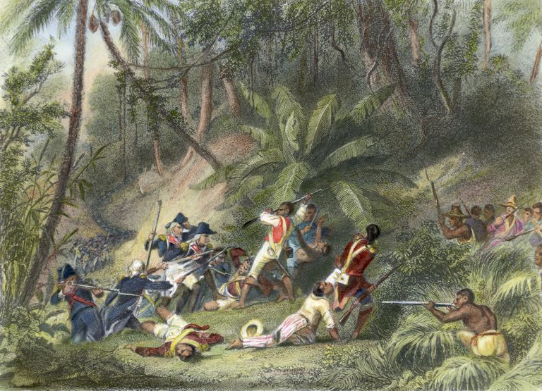 Depiction of combat in the slave rebellion in Haiti