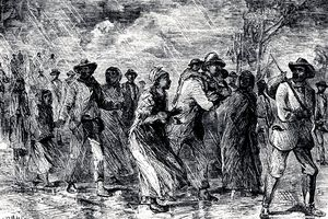 Artist's depiction of enslaved people escaping from Maryland on the Underground Railroad