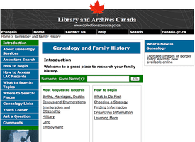 Library and Archives Canada - Genealogy