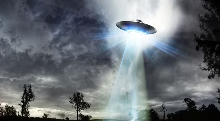 UFO Beaming up a Man
