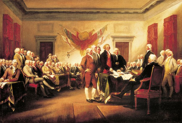 Founding Fathers presenting their draft of Declaration of Independence to Congress, June 28, 1776, by John Trumbull, 1819