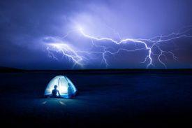 Lightning over a tent