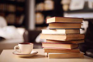 Sack of books in home interior