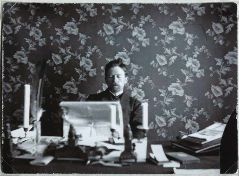 Anton Chekhov in his study in Yalta, 1895-1900