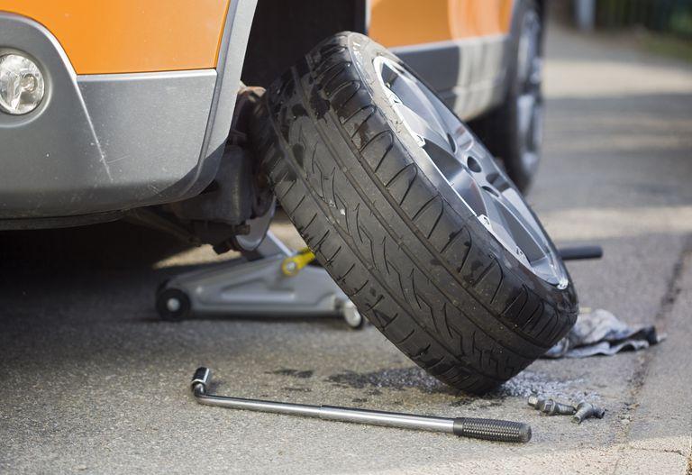 Summer tires on a car.
