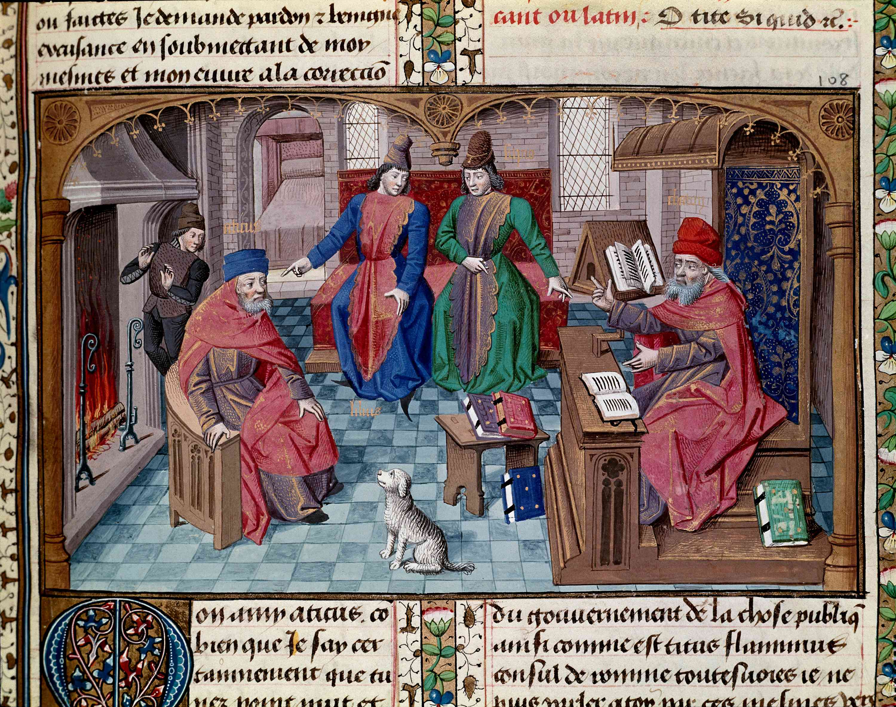 14th Century Medieval Miniature with Cicero Illustrating On Old Age