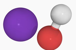 Potassium hydroxide is an example of a strong electrolyte. In water, it dissociates completely into its ions.