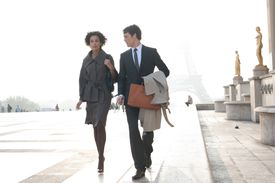 Two people going to work in Paris