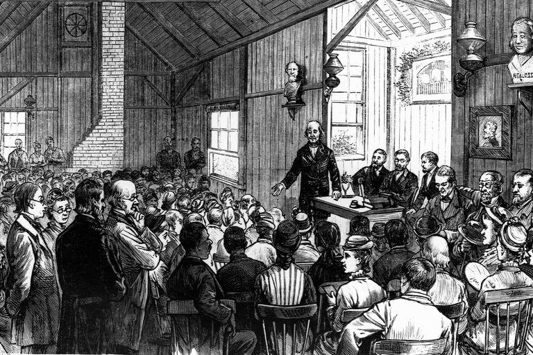 Emerson Lecturing in Concord