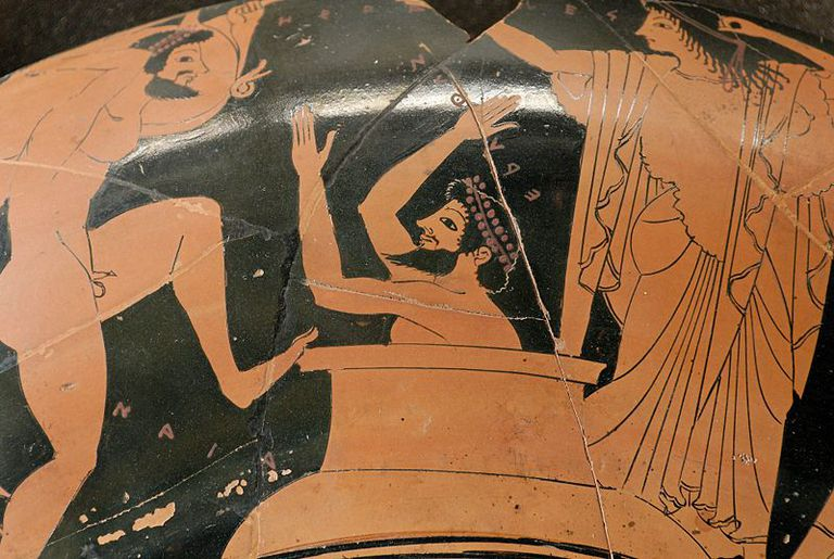 Eurystheus hiding in a jar as Heracles brings a boar
