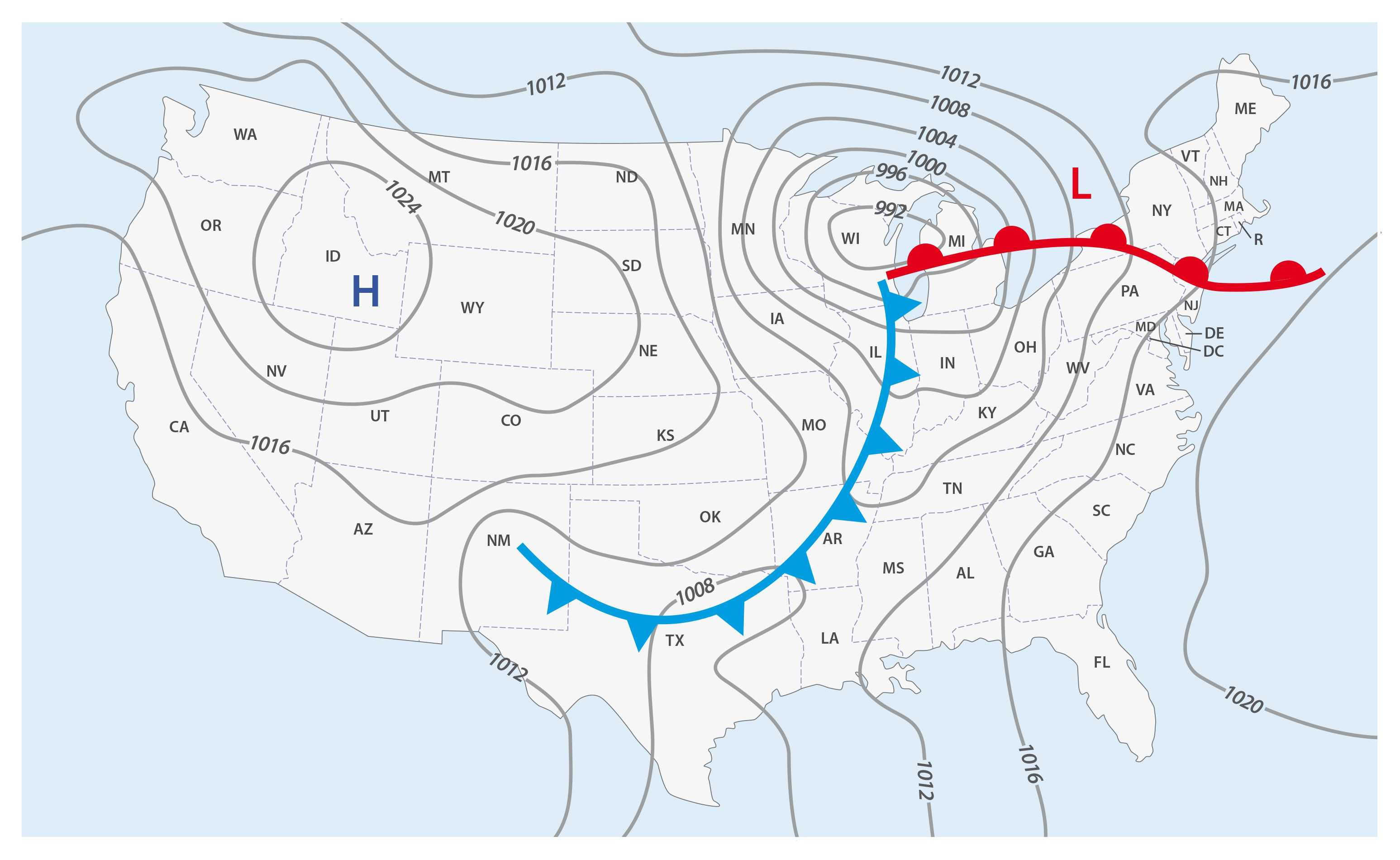 Weather Front Definitions And Map Symbols - Us-front-map