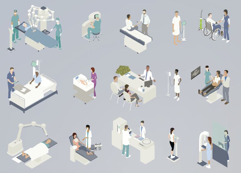 Illustrated series of various medical interactions and procedures