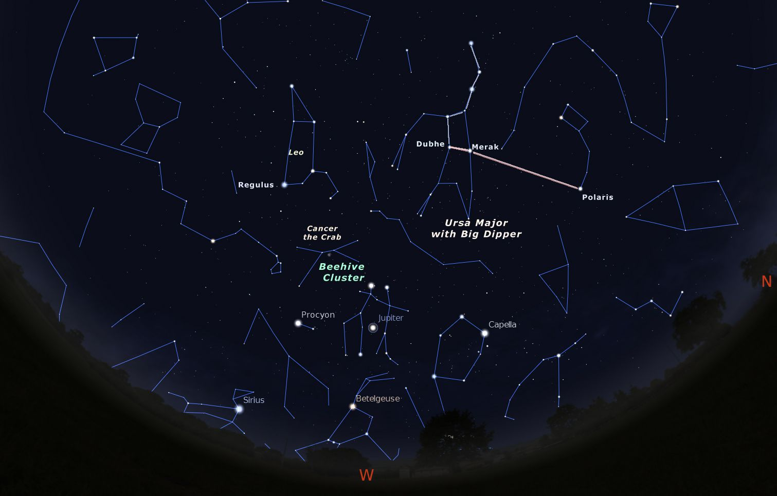 Star chart for April