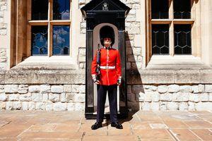 A British guard standing watch