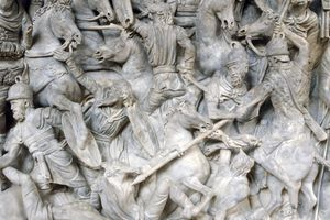 Sculpture of Romans in battle against the Barbarians, 2nd century.