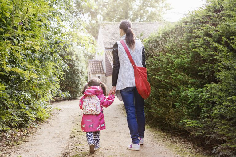 a mother and young child with a backpack walking to school