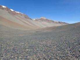 Desert pavement under a cloudless blue sky.