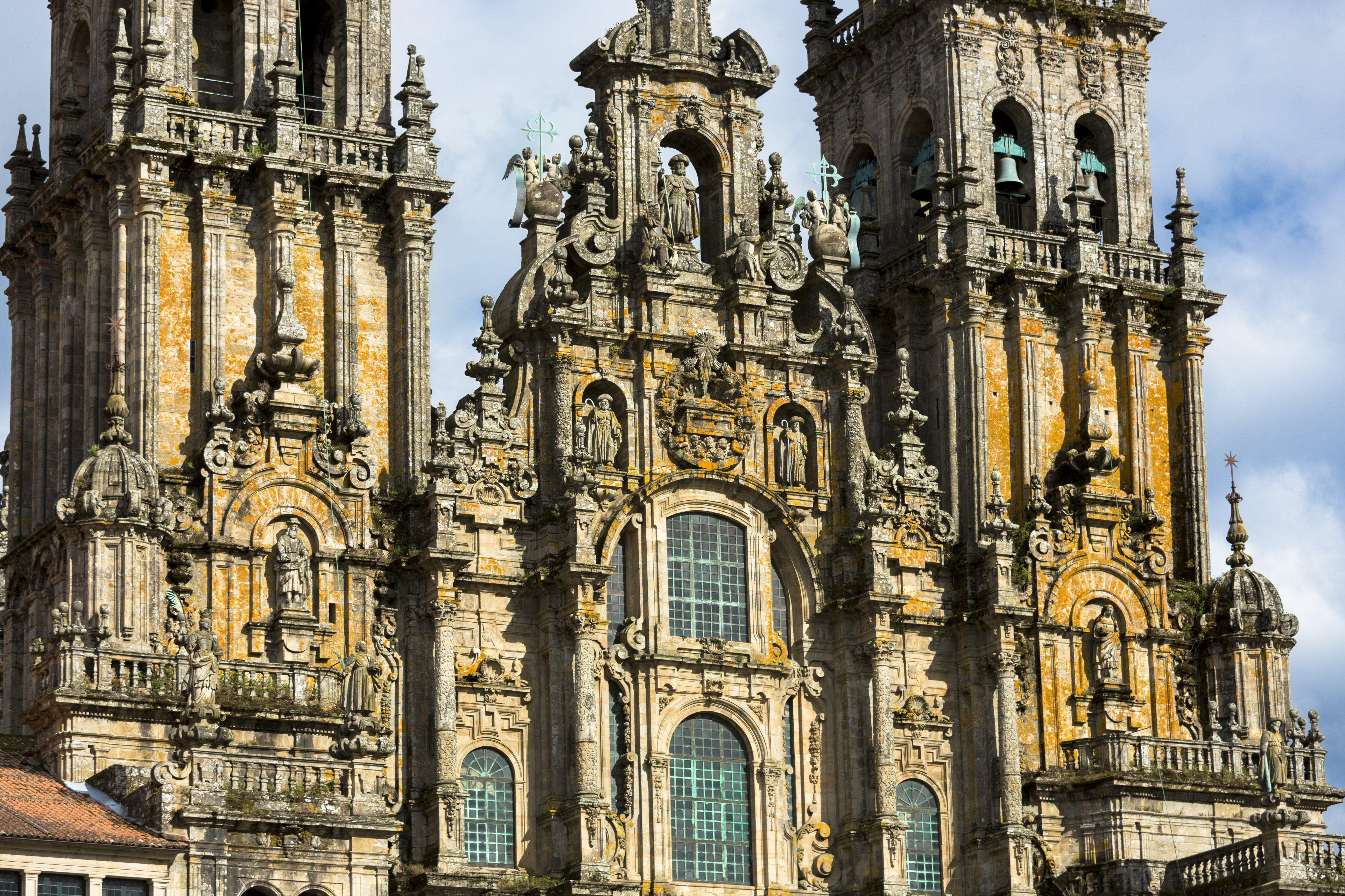 Facade do Obradoiro at the Cathedral Santiago de Compostela, Spain
