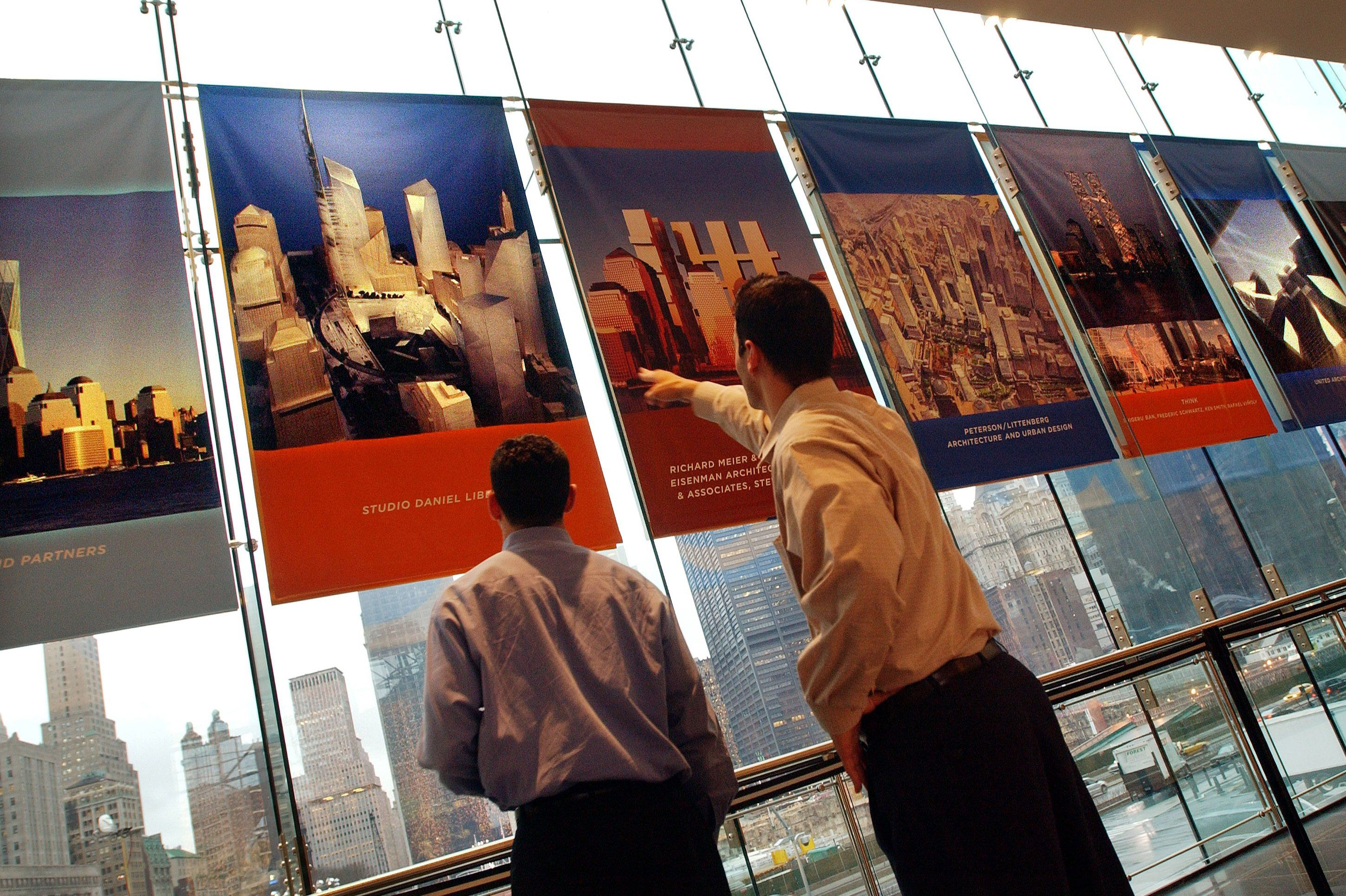 members of the public scrutinize some of new proposed designs for the rebuilding of New York's World Trade Center
