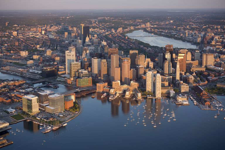 harbor skyline aerial Boston Fan Pier