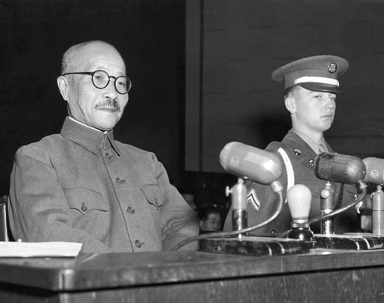 Hideki Tojo at War Crimes Tribunal, 1947