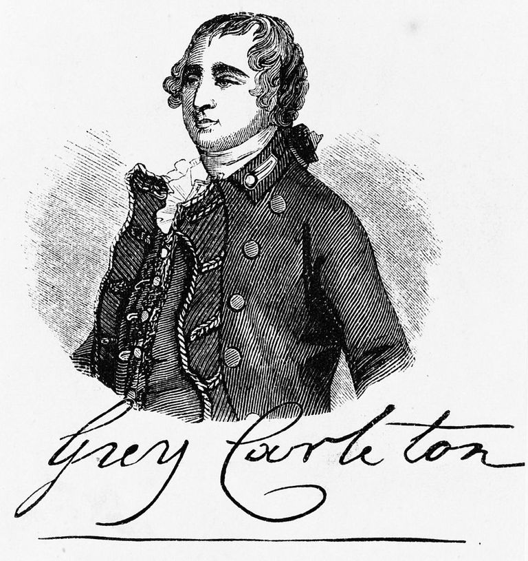 Guy Carleton half-length portrait, facing left. Wood engraving.