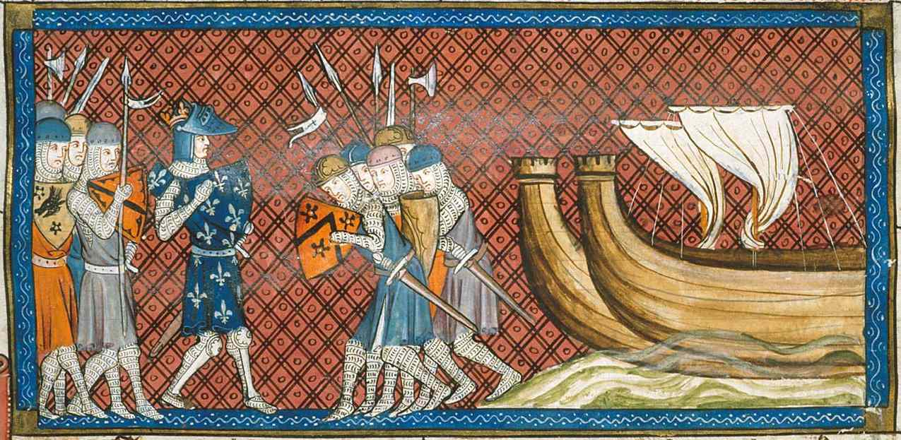 Philip II of France standing near ships with knights bowing.