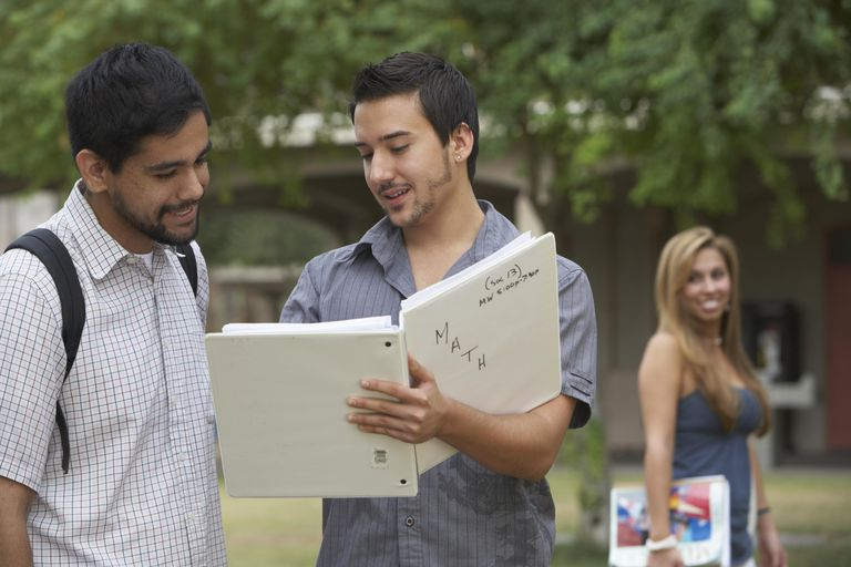 Two male students studying outdoors