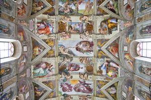 Michelangelo's Creation of Adam Fresco Painting, Sistine Chapel, Rome, Italy