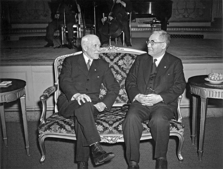 Japanese Navy Admiral Kichisaburo Nomura sitting with the United States Secretary of State, Cordell Hull, Washington DC, February, 1941.