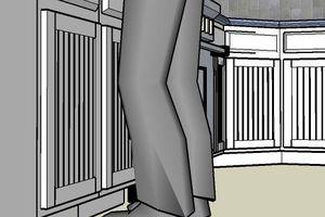 Illustration of a base cabinet toe kick.