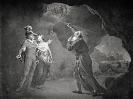 William Shakespeare 's The Tempest - Act IV scene I. Prospero, Ferdinand and Miranda. Prospero: 'As I foretold you, were all spirits and Are melted into air, into thin air'. English poet and playwright,