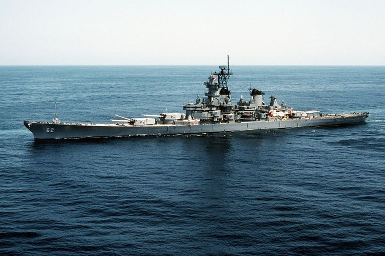The U.S. Navy battleship USS New Jersey (BB-62) underway.