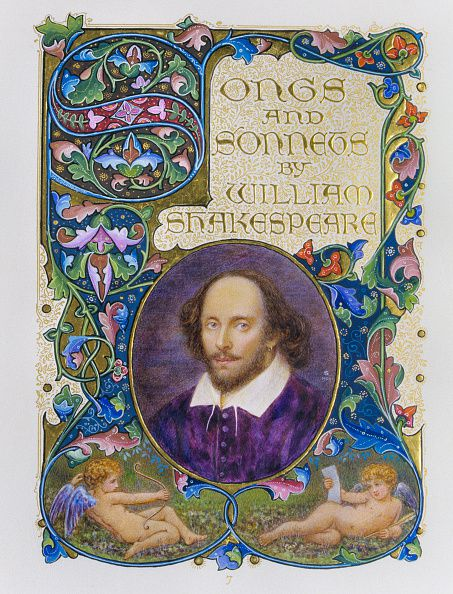 Illuminated page from a book Songs and Sonnets by William Shakespeare illustrated by Alberto Sangorski