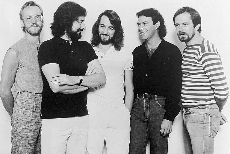 Supertramp, from left to right: John Helliwell, Rick Davies, Roger Hodgson, Bob Siebenberg and Dougie Thomson.