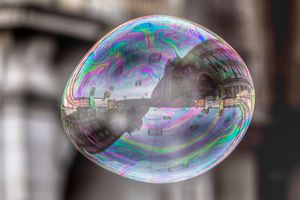 A large bubble hovering in midair.